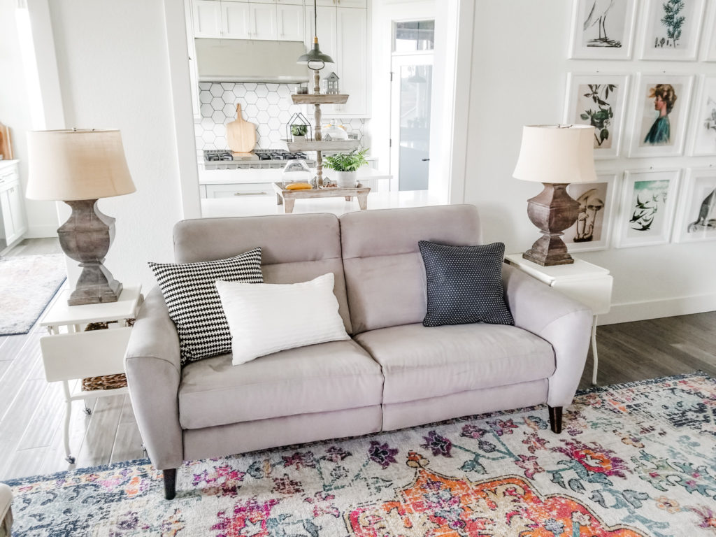 Dania couch with vintage metal cart side tables