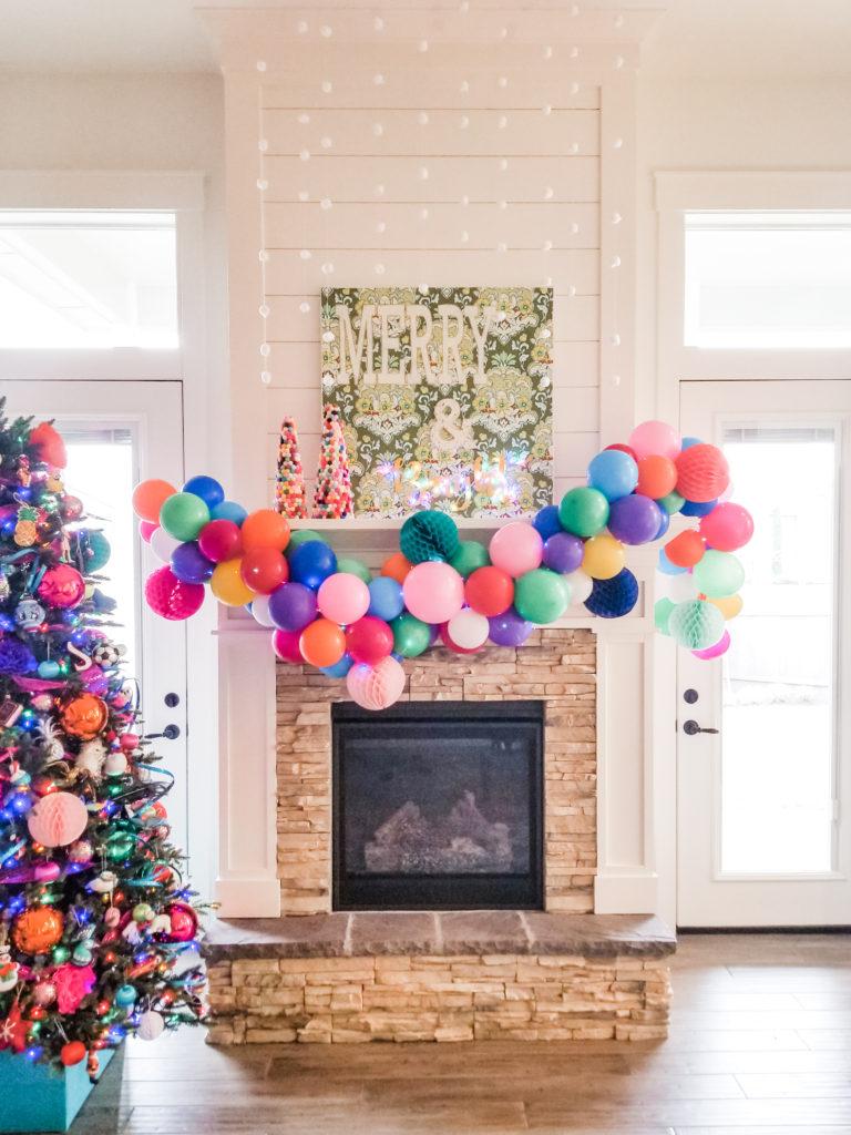 Colorful DIY Christmas mantel