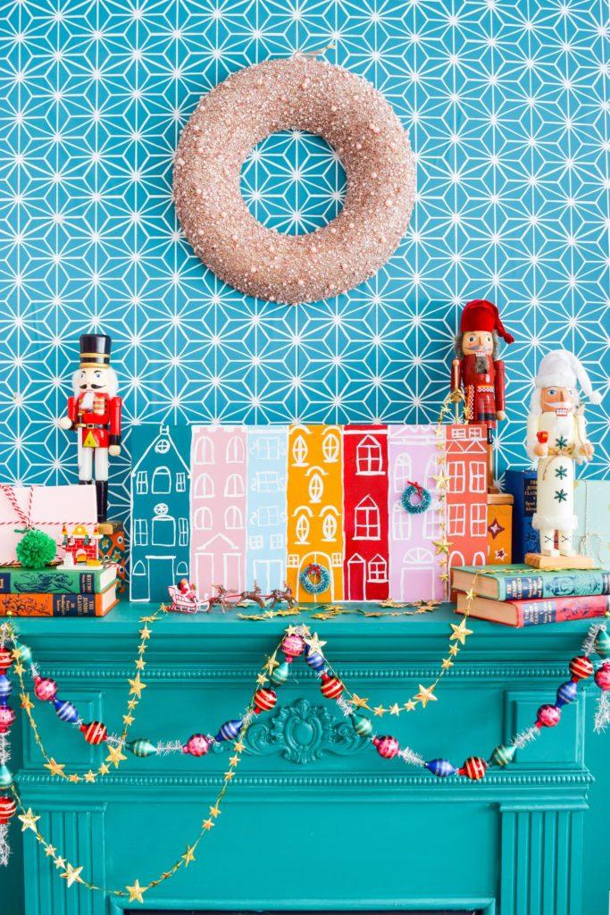 Colorful Christmas mantel inspiration