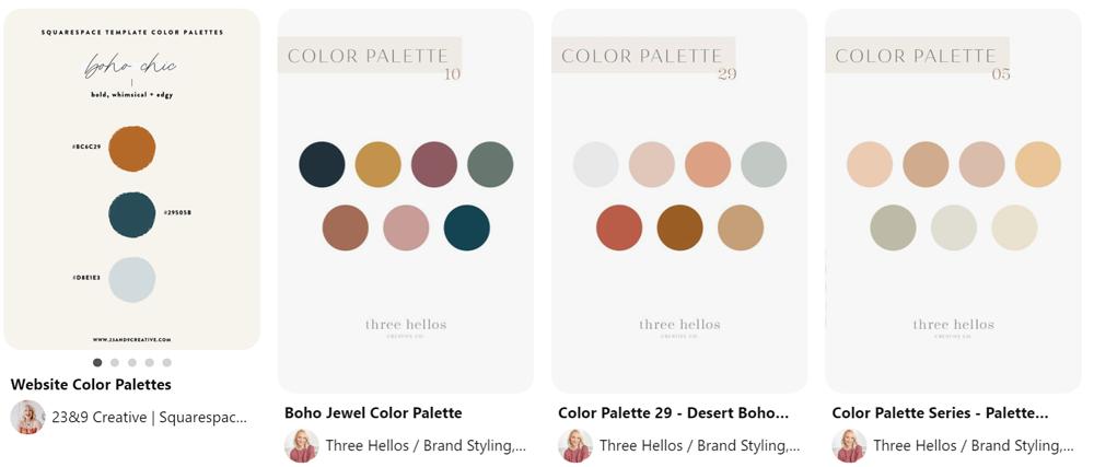 Pinterest pins for  boho color pallettes
