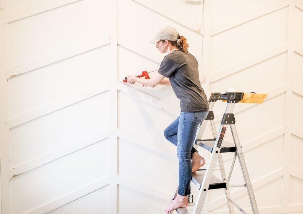 Stunning DIY Herringbone Board and Batten Accent Wall